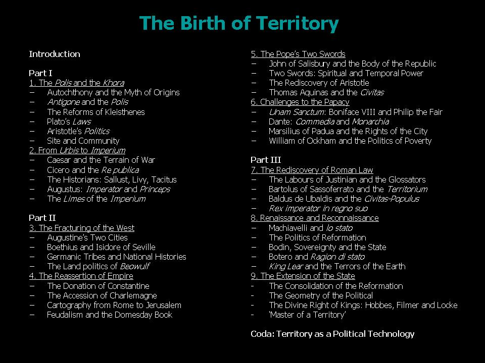 The Birth of Territory (3/3)