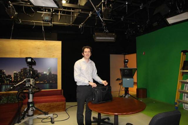 In the Fordham University studio