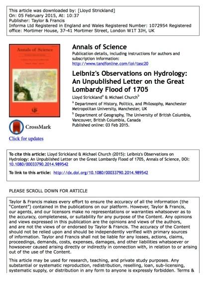 Leibniz on hydrology (offprint)