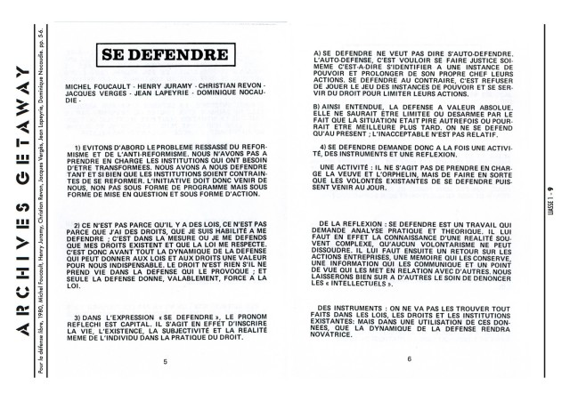 Foucault - 1980 Se défendre