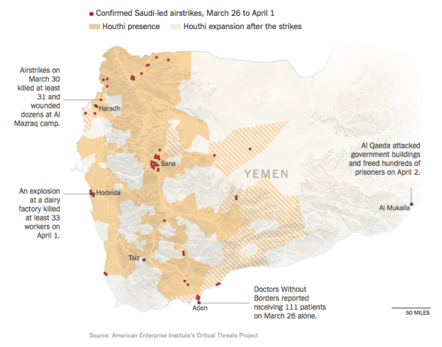 Saudi-led airstrikes in Yemen to April 2015