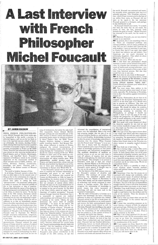 Foucault - 1984 A last interview with French philosopher Michel Foucault