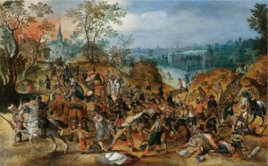 1024px-Sebastiaan_Vrancx_studio_-_A_landscape_with_travellers_ambushed_outside_a_small_town-725x450