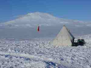Pyramid tent with Mt Erebus behind