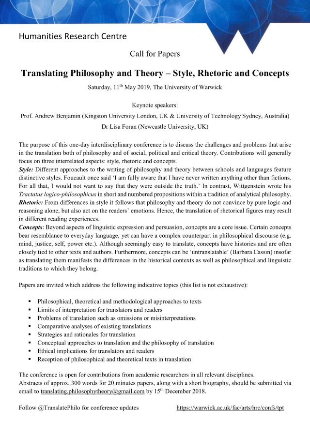 CFP Translating Philosophy and Theory 11 May 2019