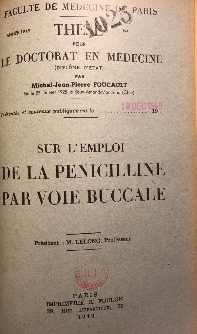 Foucault 1949 - Sur l'emploi de la penicilline 1.jpg